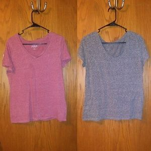 Set of Grey and Pink V-Neck T's